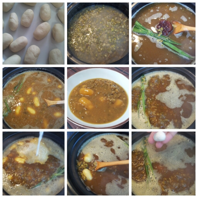 Clockwise from top-left: Making Bubur Kacang Hijau