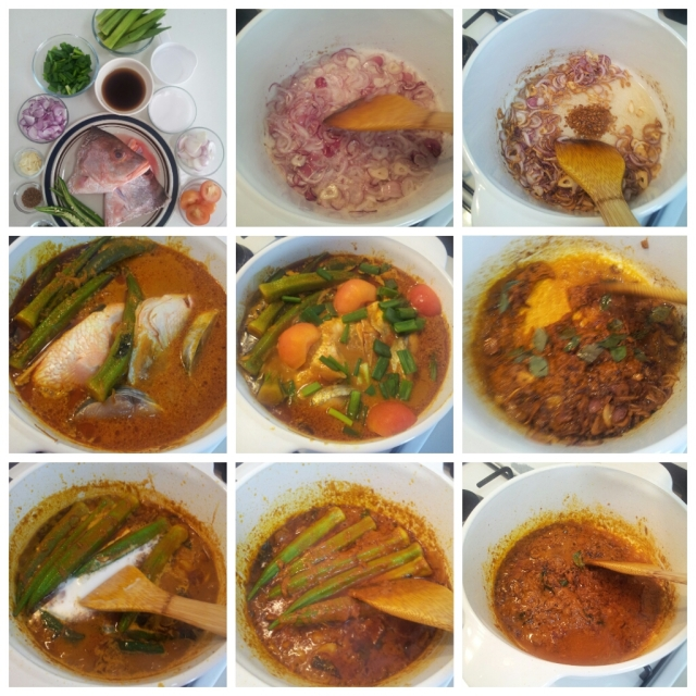 Clockwise from top left: Steps to make Kari Kepala Ikan (Fish Head Curry)