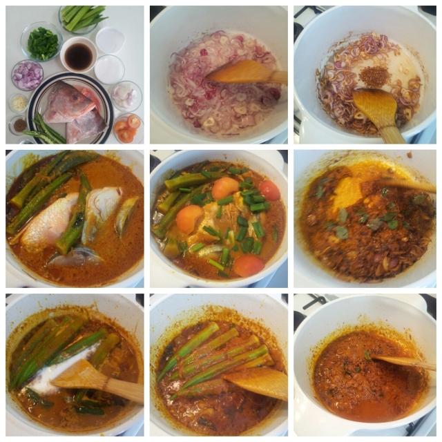 Clockwise from top left: Steps to make Kari Kepala Ikan (Fish Head Curry)