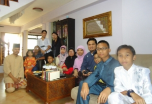 A family celebrating Hari Raya Idul-Fitri